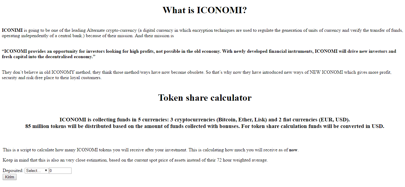 Iconomy Bitcoin Ethereum Decred Calculator – Beloved Sons