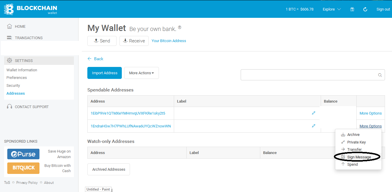 How to sign message your bitcoin address and verify it blockchain choose the address you want to signed if you find it click more options and click sign message ccuart Choice Image