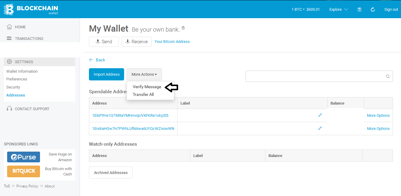 How to Sign Message your Bitcoin Address and Verify it